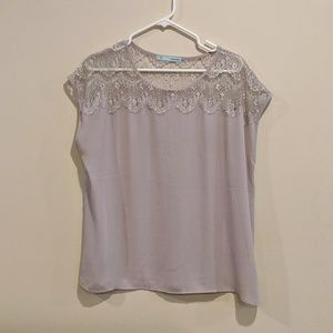 Maurice's light grey/purple lace yoke blouse XL